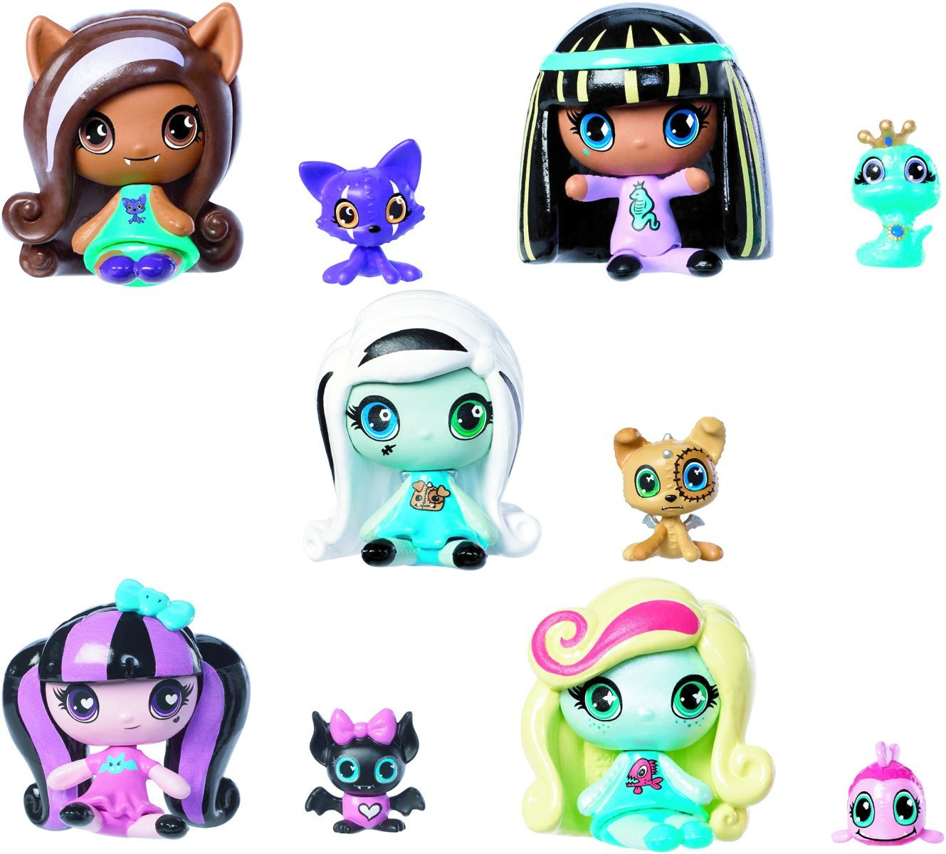 Monster High Minis Draculaura Frankie Stein Clawdeen Wolf Cleo De Nile Lagoona Pets 5 Set