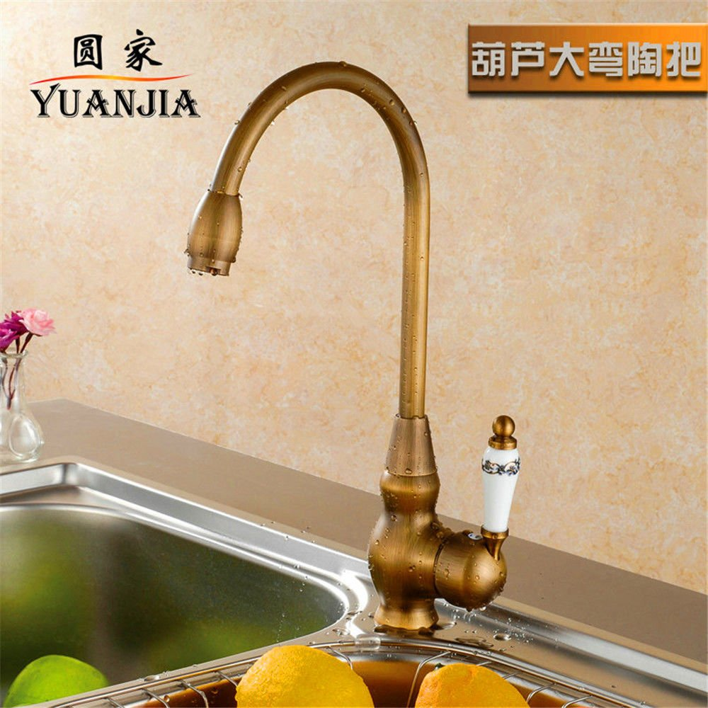 E Lpophy Bathroom Sink Mixer Taps Faucet Bath Waterfall Cold and Hot Water Tap for Washroom Bathroom and Kitchen Copper Antique Hot and Cold Retro redating Single Handle F