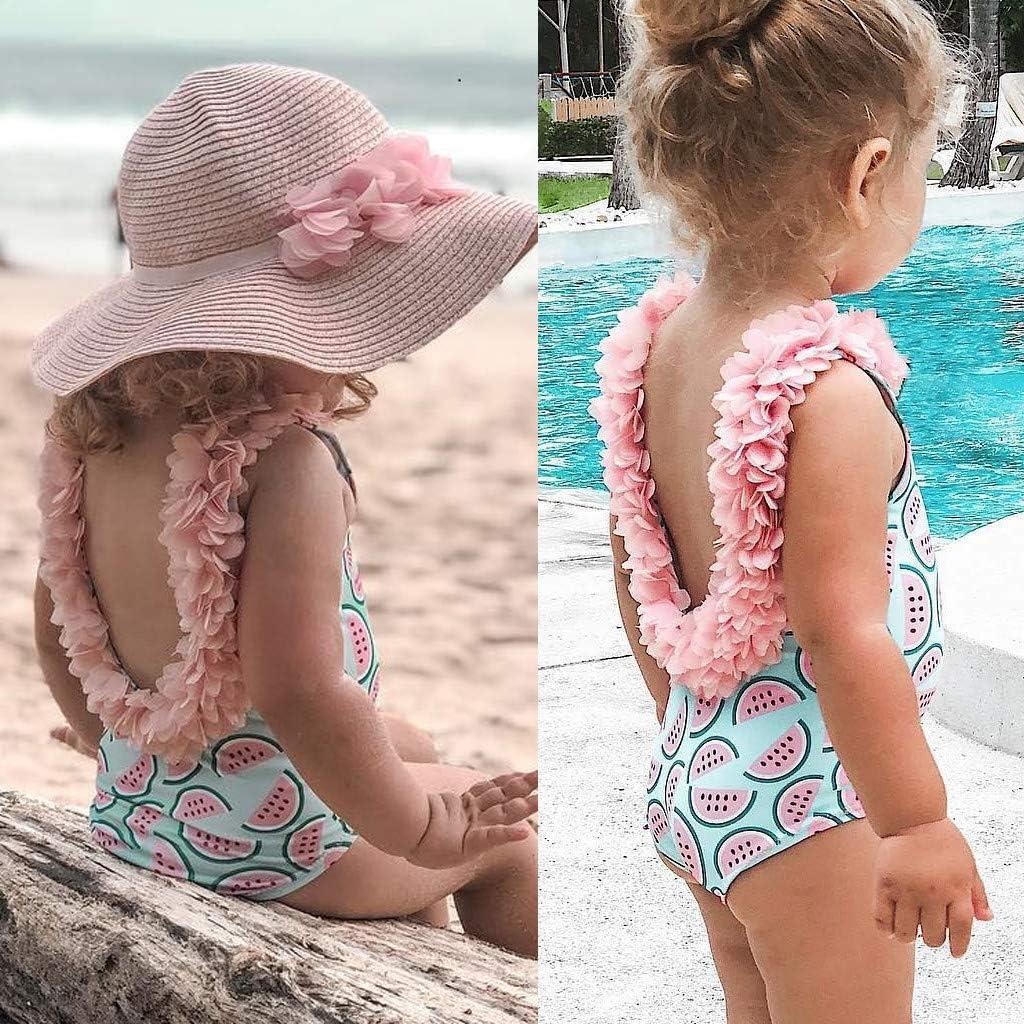 Adeliber Newborn Baby Girl Floral Swimsuit Ruffles Bathing Suit Bikini Striped Swimwear for Baby Girls Beach Wear