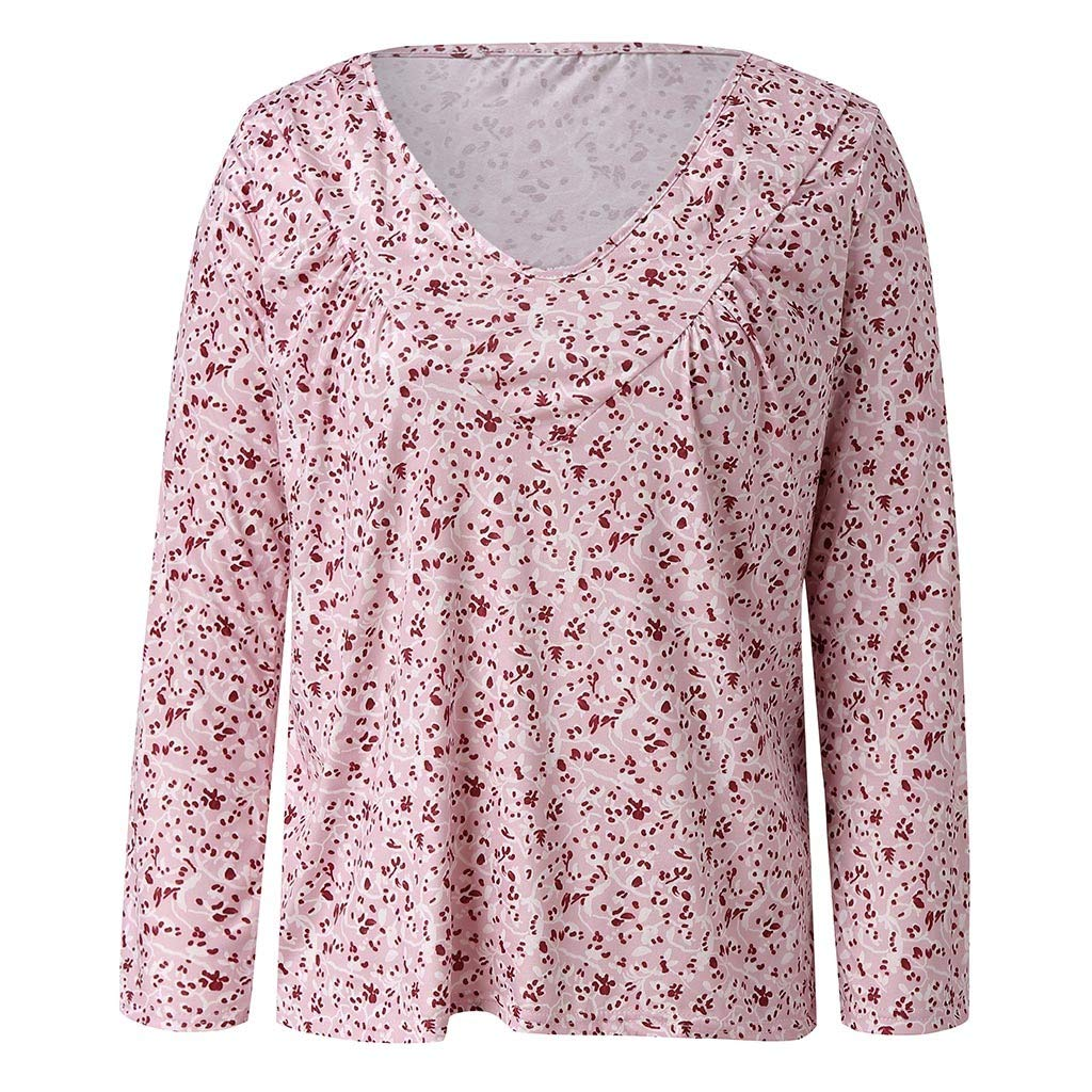 Blouse for Women 2019 Fashion Loose Tops Casual V Neck Long Sleeves Printed T Shirts Autumn Shirts Plus Size S-5XL