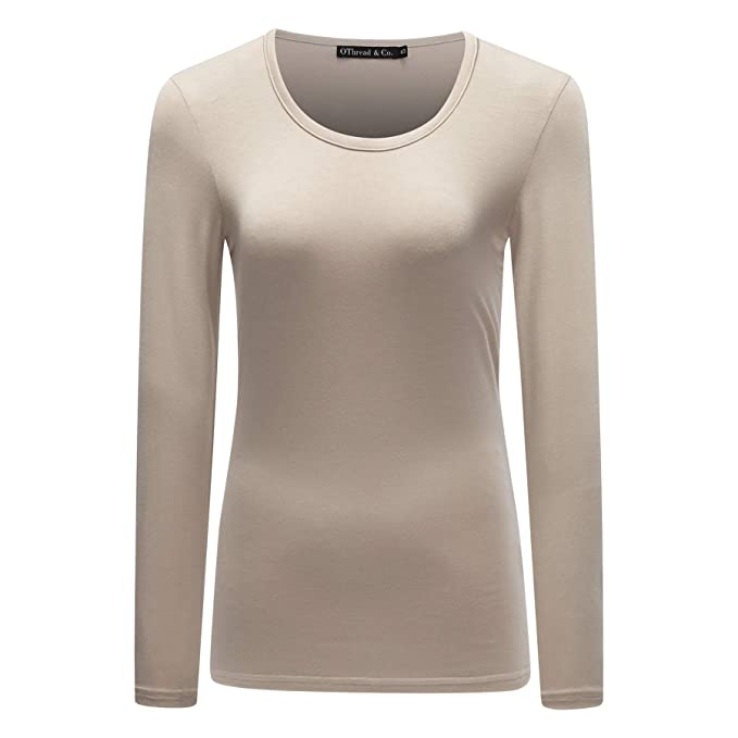 8ef8e0bd OThread & Co. Women's Long Sleeve T-Shirt Scoop Neck Basic Layer Spandex  Shirts
