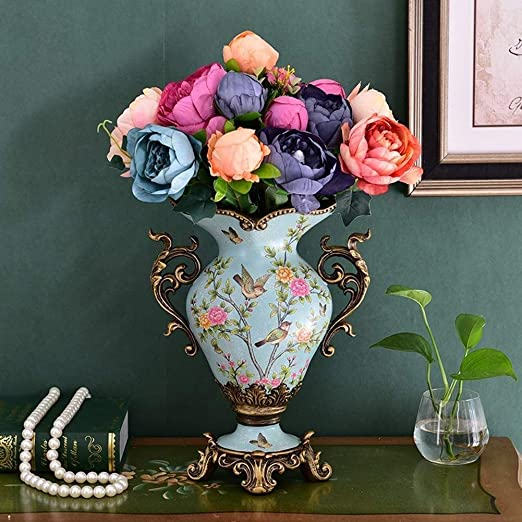Amazon Com Ceramic Vases For Centerpieces Decoration Flower Vase Painted Tall Decorative Vase Table Centerpiece Bedroom Office Hotel Home Decoration Hand Color D Home Kitchen