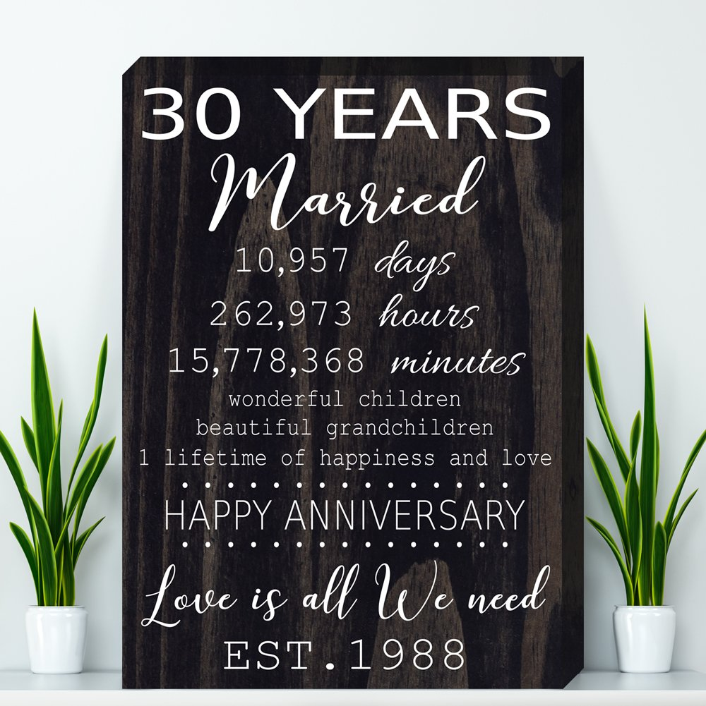 30 Year Anniversary Gift, Pearl Anniversary Gift Canvas - Wife Anniversary Gift, Parents Anniversary Gift, Canvas Print