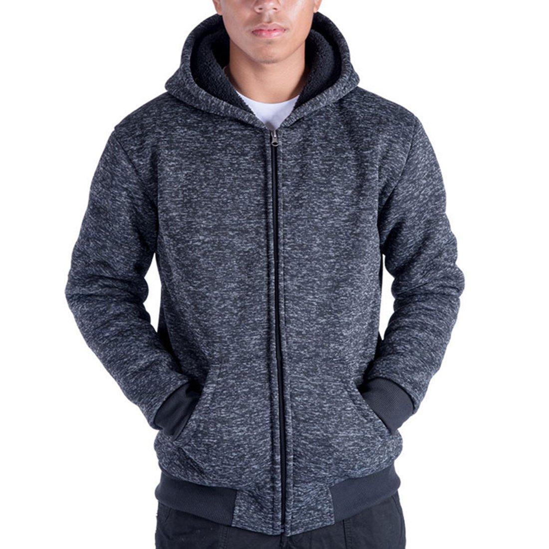 Gary Com Marled Heavyweight Sherpa Lined Fleece Hoodies for Men Full-Zip Plus Size 5XL Men's Sweatshirts Jackets (M, Dark Blue)