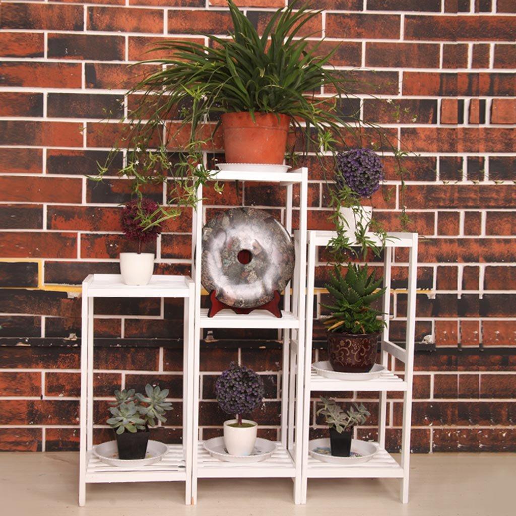 ALUS- Flower racks Solid wood living room balcony multi-storey flower rack Ground assembling multi - layer wooden flower pots ( Color : White ) by CXM-Flower Stand