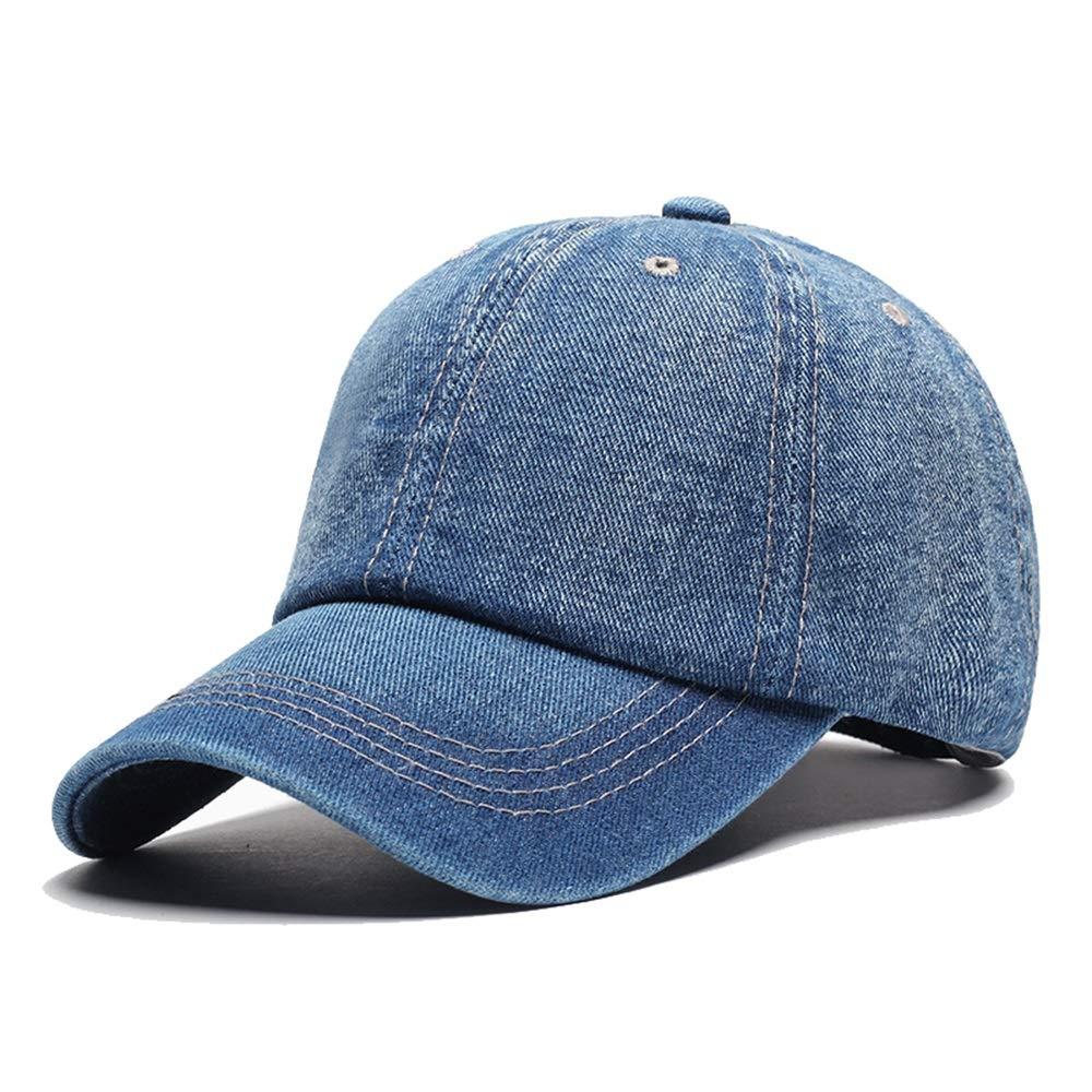 blueee Vnlig Baseball Cap Outdoor Tide Cowboy Men's Baseball Cap Cap Solid color Sunshade Hat (color   Light blueee)