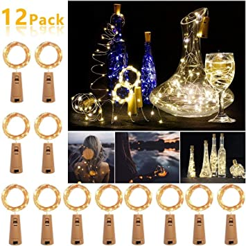 Clase de eficiencia energ/ética A+++ Daypicker 2m 20 LED luces led para Botellas Decorativas Cobre Luz para Rom/ántico Boda Navidad Fiesta Jard/ín Hogar Exterior 12 Pack luz de Botella Corcho