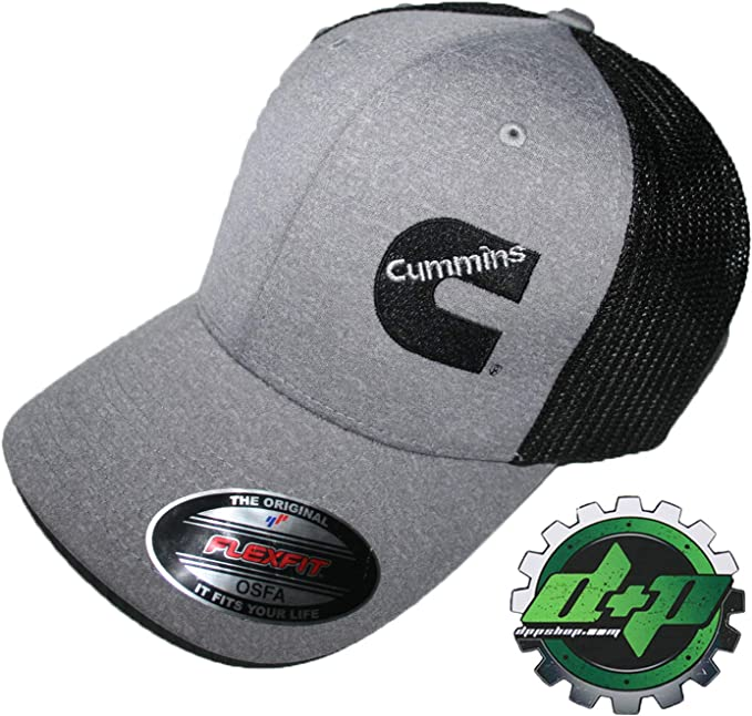 Cummins hat ball cap fitted flex fit flexfit stretch cummings gray white lg//xl