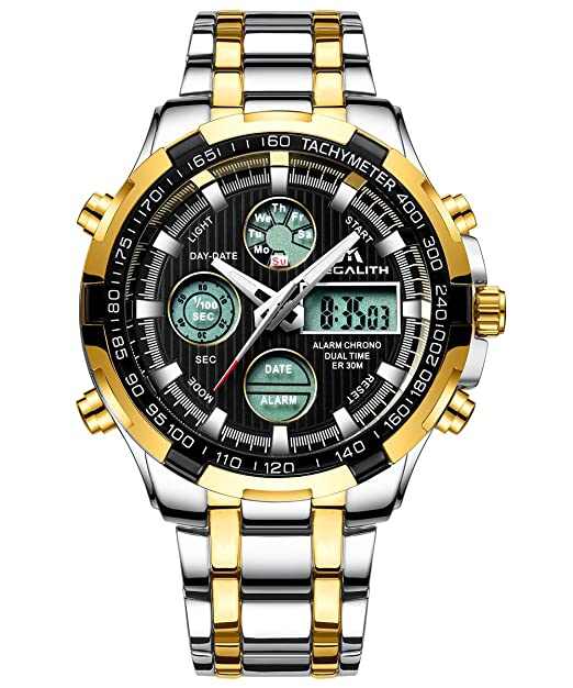 Relojes de Hombre Militar Digital Relojes Grandes de Pulsera Deportivo Impermeable Lujo Cronógrafo Día Fecha Calendario LED Relojes de Acero Inoxidable Oro ...