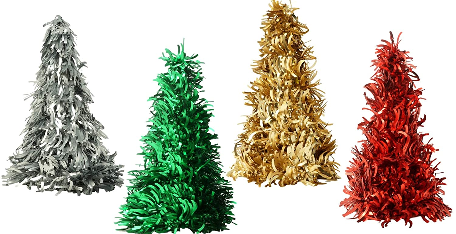 Amazon Com Christmas Trees Tabletop 4 Pack Assorted Designs In