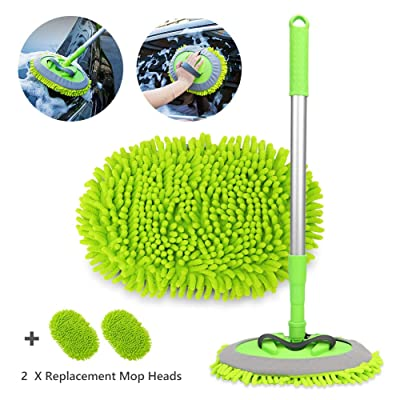"2 in 1 Chenille Microfiber Car Wash Brush Mop Mitt with 45"" Aluminum Alloy Long Handle, Car Cleaning Kit Brush Duster, Not Hurt Paint Scratch Free Cleaning Tool Dust Collector Supply for Washing Truck: Automotive"