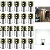 BRISHINE 20PCS 1141 1156 Interior LED Light Bulbs for RV, Super Bright 18-SMD 6000K Xenon White 1073 1003 7506 BA15S LED…