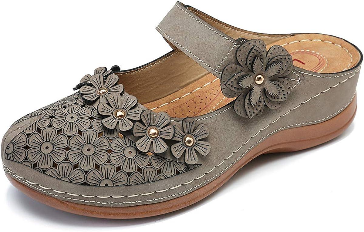 gracosy Zuecos para Mujer Cuero Verano Loafer Tacón Bajo Mules Zapatillas de Playa Planos Zapatos Antideslizantes Sandalias Mary Jane Zapatilla