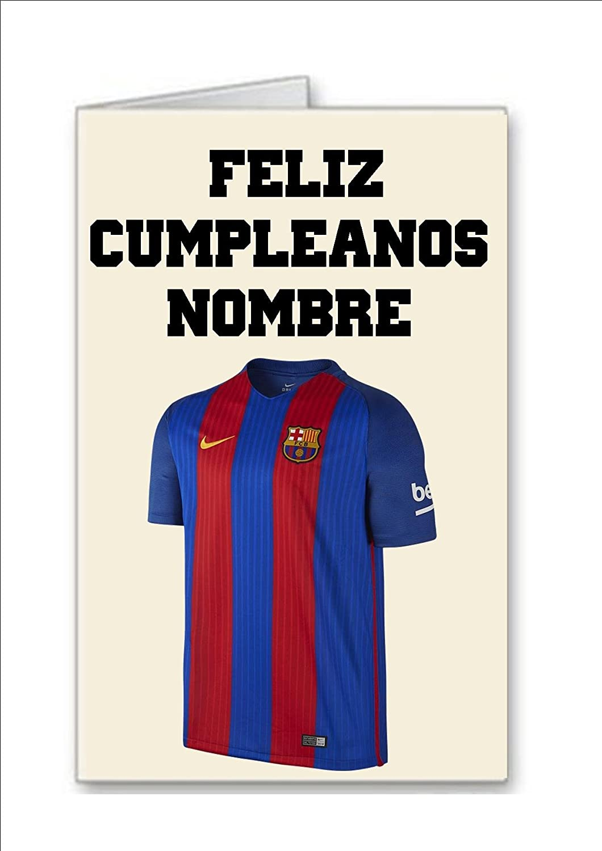 Tarjeta de cumpleaños del equipo de fútbol de Barcelona Nombre personalizado .. Tarjeta y Sobre Especial Regalos Feliz Cumpleanos