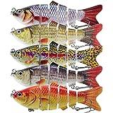 Lixada Fishing Lure Set 5PCS Multi Jointed Segment Swimbait Lifelike Hard Bait Crankbait Treble Hooks 3D Eyes Popper Crankbai