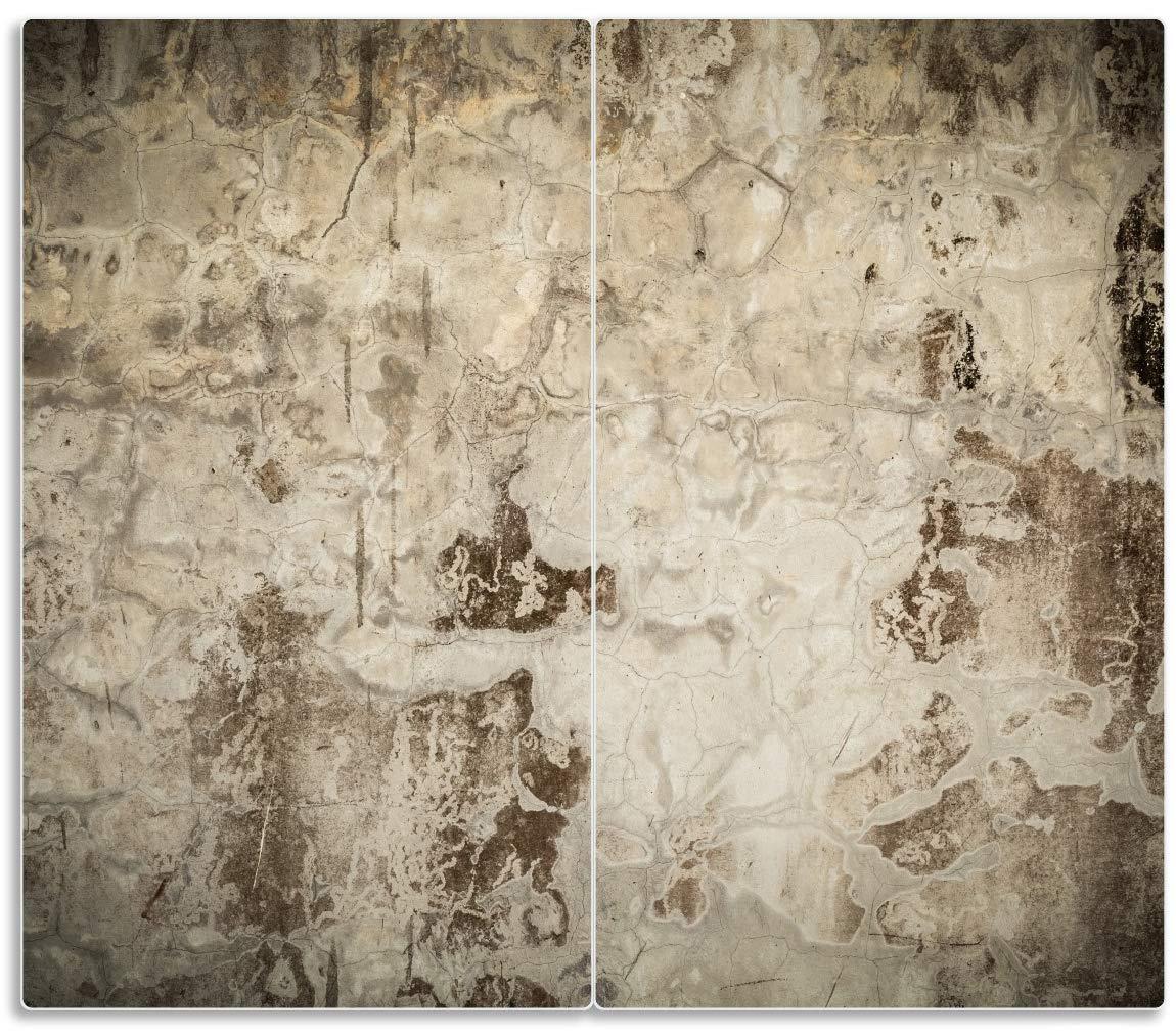 Wallario Herdabdeckplatte 1-teilig aus Glas Alte scmutzige Wand aus 60x52cm
