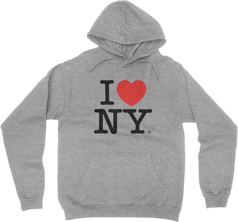 I Love NY New York Hoodie Screen Print Heart Sweatshirt Gray