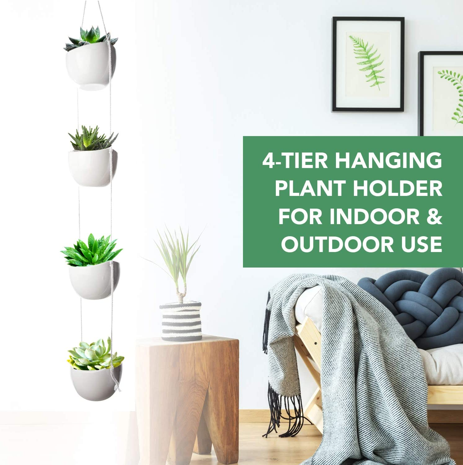 4-Tier Hanging Plant Holder, White Ceramic Planters for Wall Ceiling, Decorative Planter Pots Outdoor Indoor Use, Succulent Wall Planters, 40-inch Hanging Plant Pots, White Bowl Pots for Plants