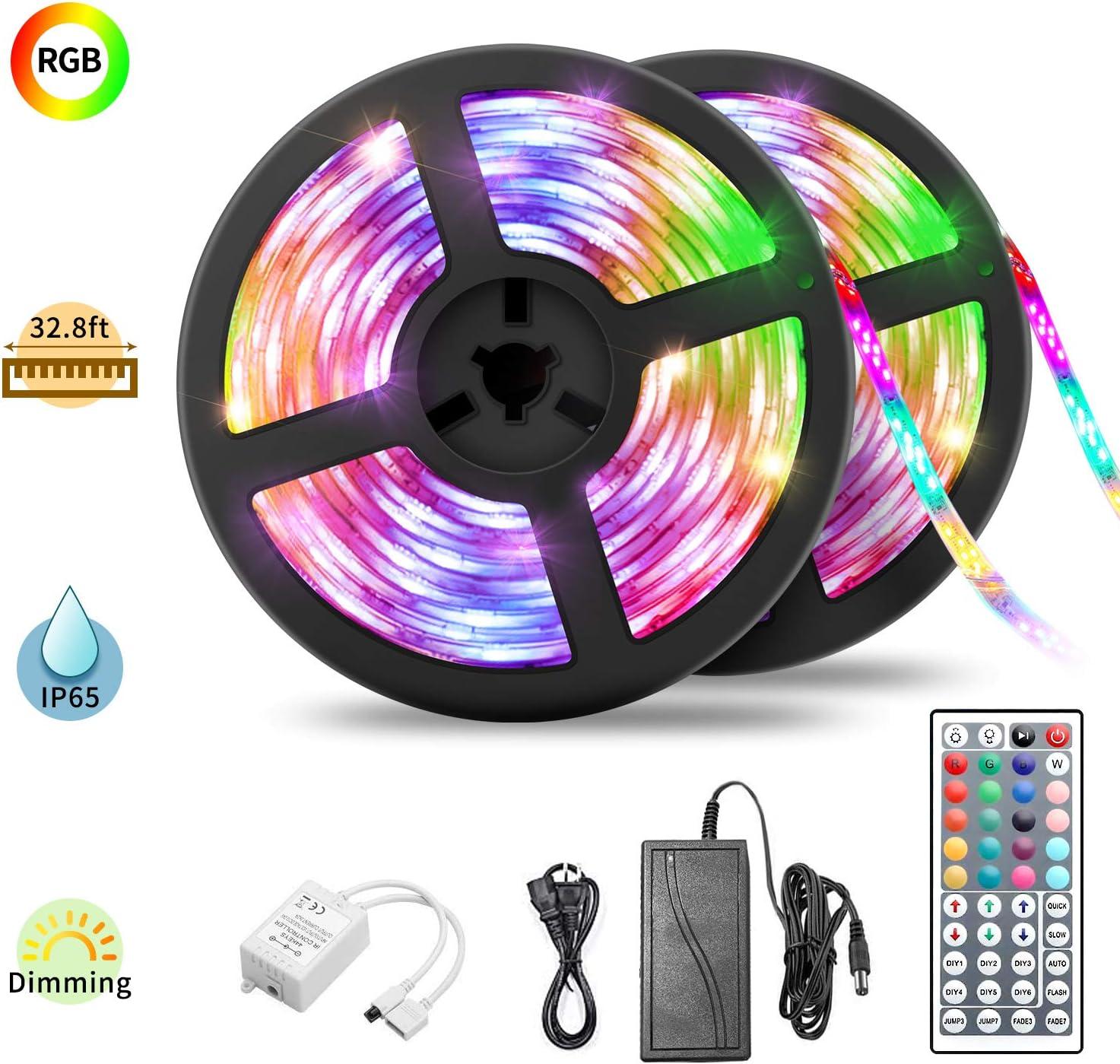 ESTPEAK Led Strip Lights, 32.8ft Waterproof Led Light Strip, Color Changing 5050 RGB 300 LEDs Light Strips Kit, with 44 Keys IR Remote Ideal for Home Bedroom Kitchen Party Decoration, 12V