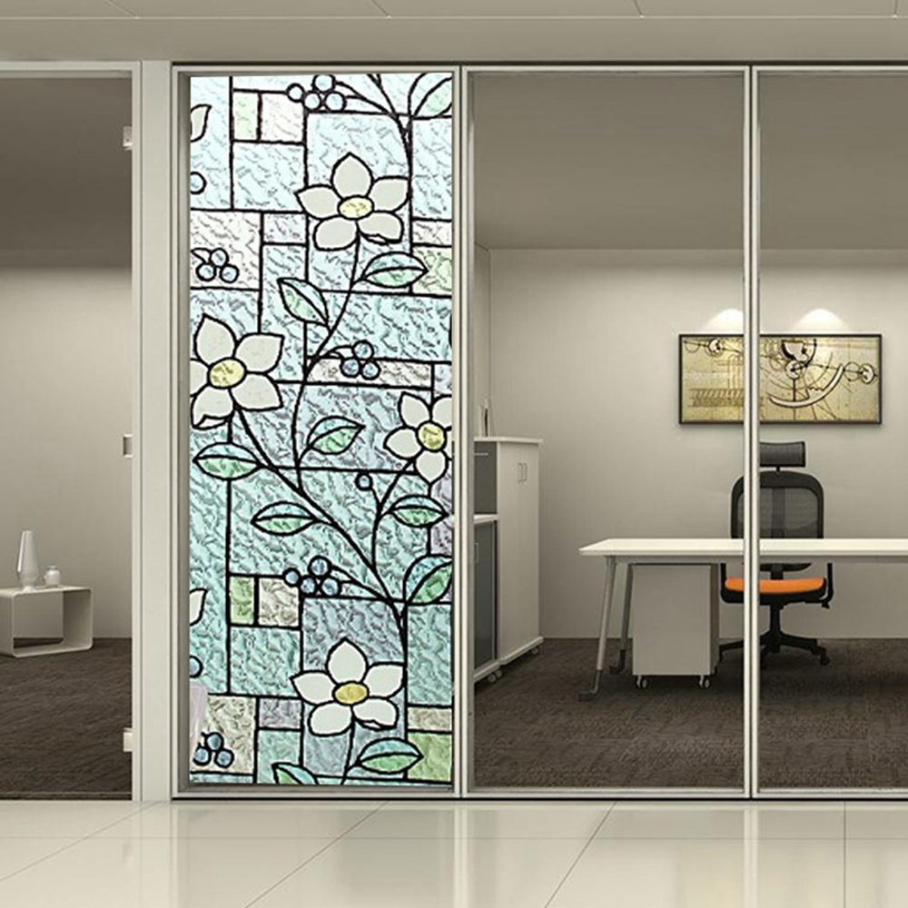 [ hoho ] no glue静的装飾プライバシーウィンドウFilms forガラス非粘着熱コントロールアンチUV with a Flower Pattern 0.92mx10m BZ95-Y07 B072F6S6N3 0.92mx10m0.92mx10m