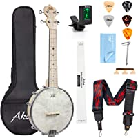 AKLOT Banjo Ukulele Concert 23 inch Remo Drumhead Open Back Maple Body 1:18 Advanced Tuner with Tow Way Truss Rod Gig…