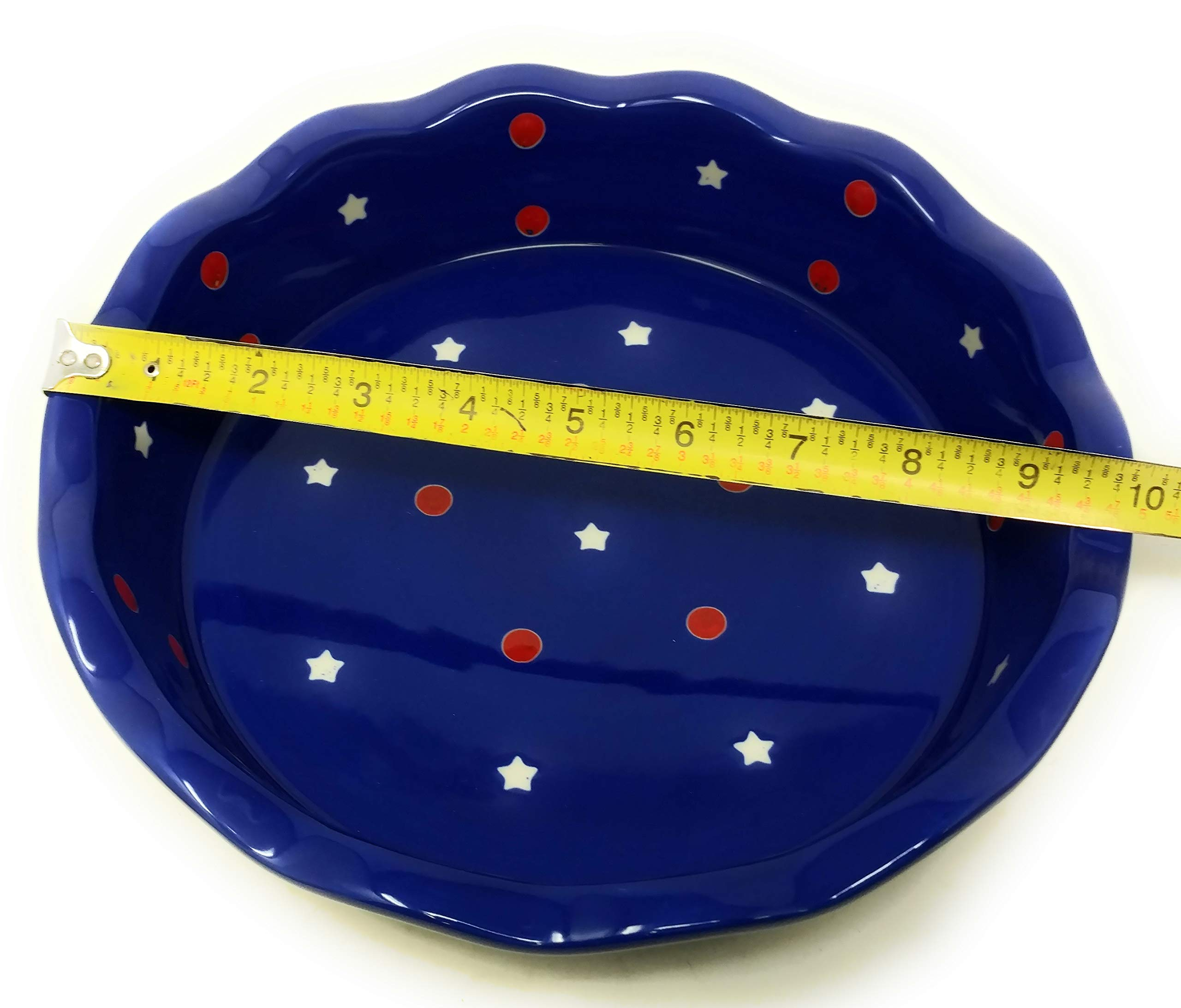 Temp-tations Red, White & Blue 10'' x 2.25'' Pie Pan, Scalloped, Deep Dish Pizza or Quiche (Red) by Stoneware (Image #5)