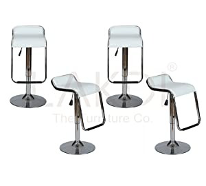 Lakdi Leatherette Chrome Steel Bar Chair, Stool Set of 4 Combo MFN(132111_C_4)