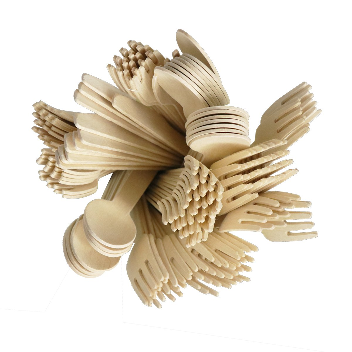 Picnics 100 PCS Disposable Wooden Cutlery Biodegradable Compostable Wooden Utensils for Party Wedding Family Events BBQ