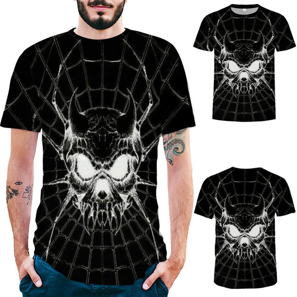 Pervobs Newest Mens Fashion 3D Print Splicing Short Sleeve T-Shirt Crew Neck Basic Causal Tee Shirts Blouse Tops (XL, BlackA) by Pervobs Mens T-Shirts (Image #2)