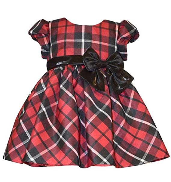 691120b694dc Bonnie Jean Little Girls Christmas Red Plaid Taffeta Dress with Bow, 2T