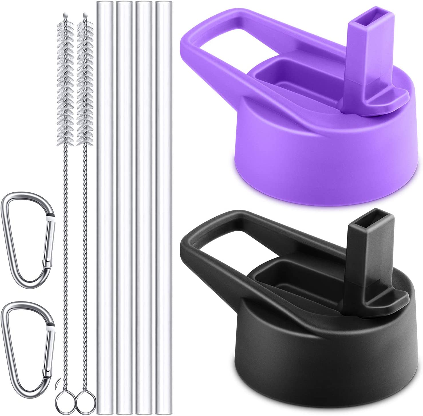 Sunnywoo Straw Lid for Hydro Flask Wide Mouth Bottle and Most Wide Mouth Sports Water Bottle,Replacemen Lids with 4 Straws 2 Brushes and 2 Carabiner-2 Pack (Black,Purple)