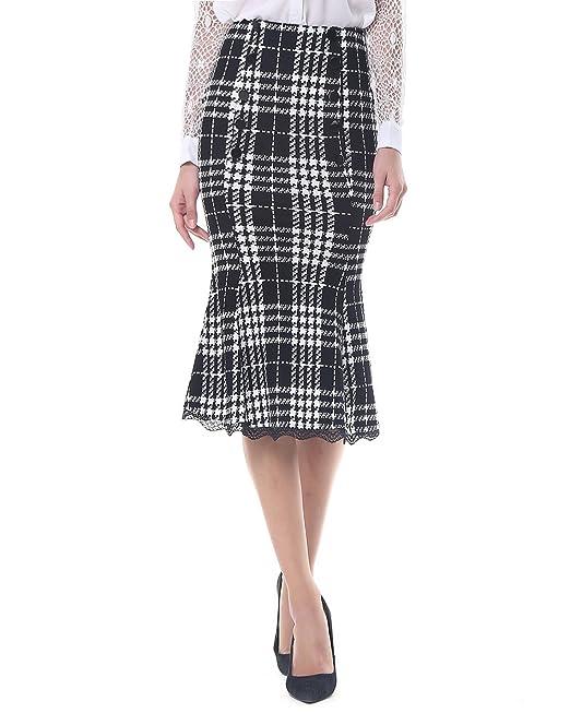 Kenancy Mujer Faldas Largas de Tubo Plisada Cola de Pescado Elegante Cintura Alta Elástico Atractiva Falda