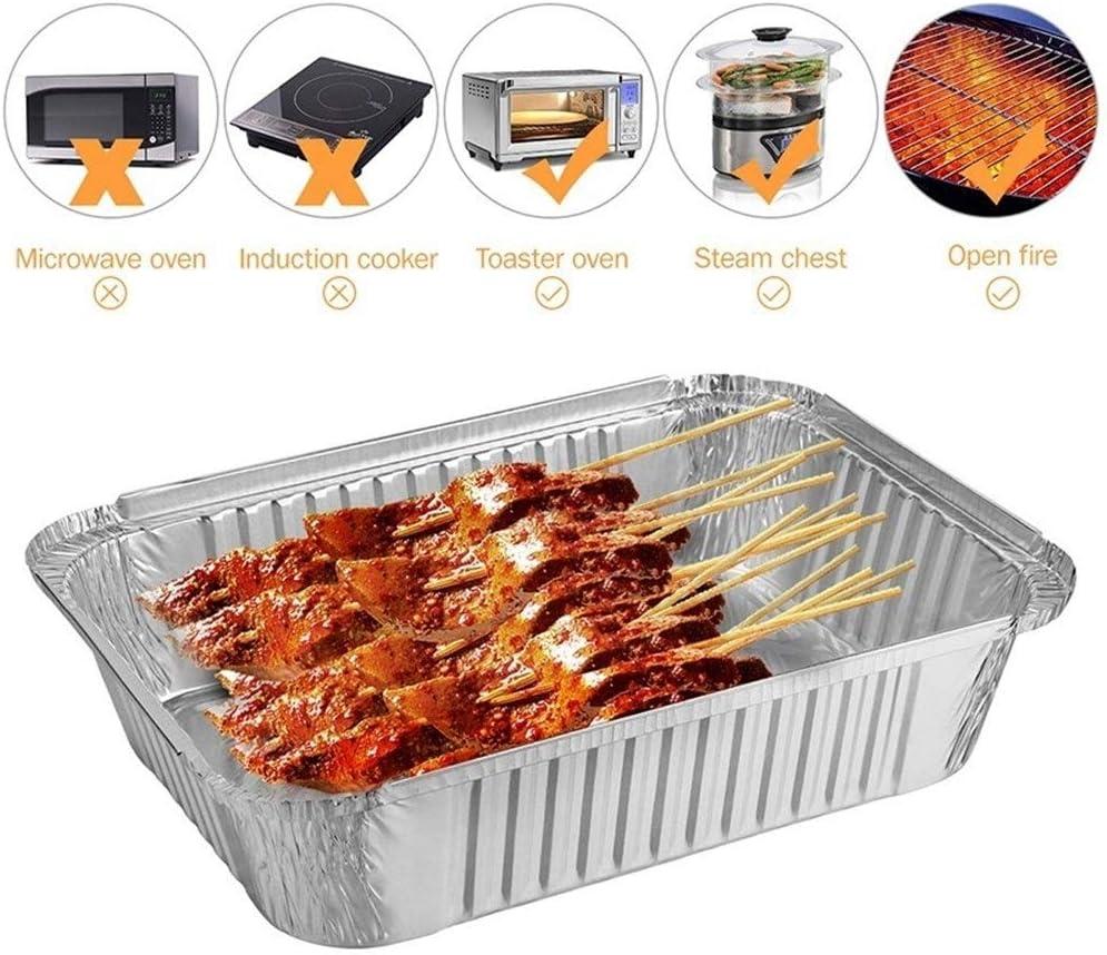 10pcs jetable barbecue Drip poêle anti-adhésive en feuille d'aluminium Boîte résistant à la chaleur barbecue Tin plateau camping Outils for barbecue (Color : 600ML) 2000ml