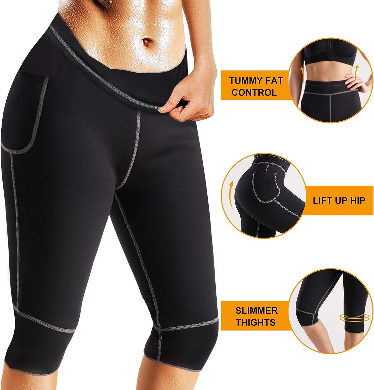 LANCS Women Sauna Shorts Capri Jogger Pants Neoprene Sweatpants with Pocket Weight Loss Workout Training Yoga Leggings