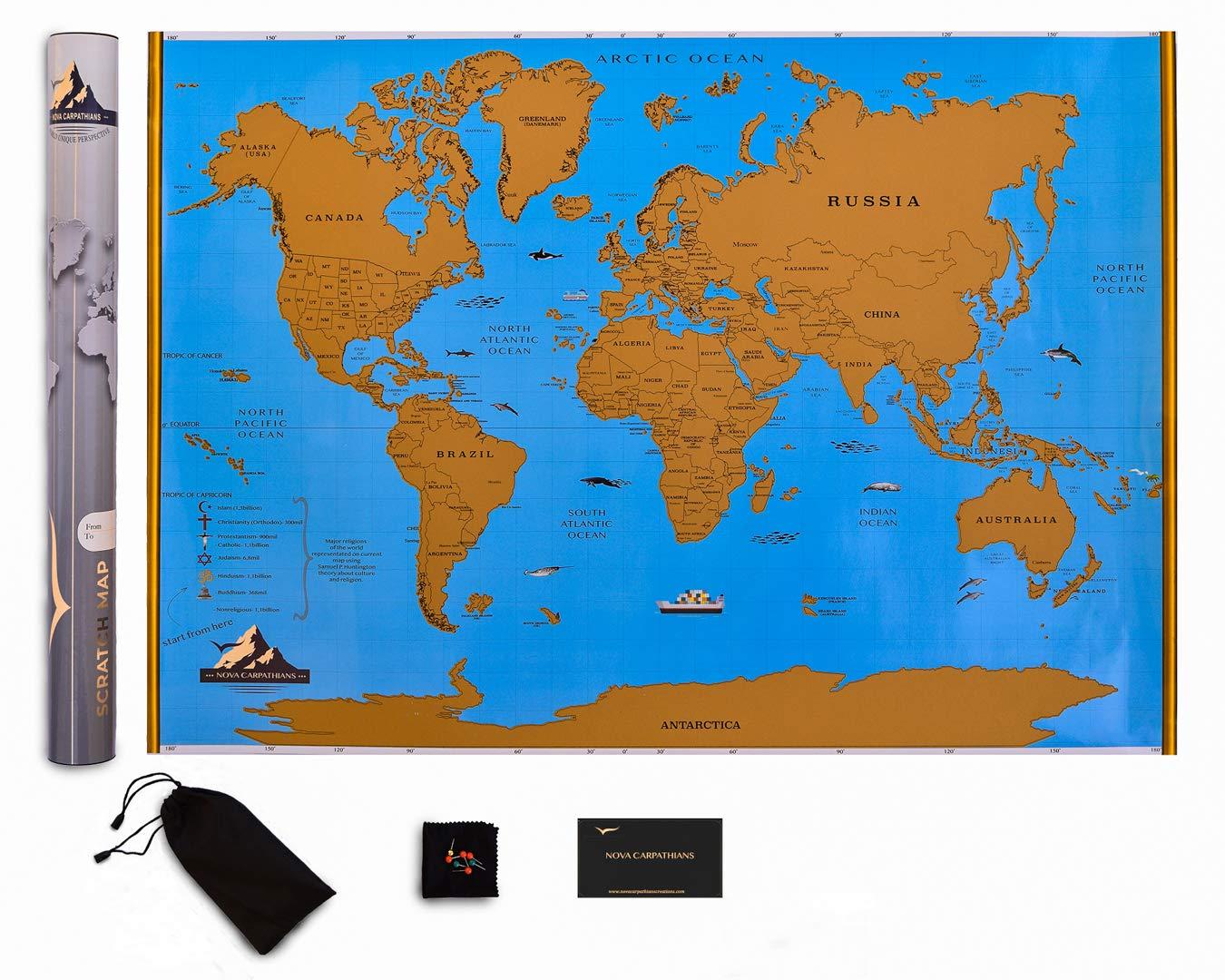 Amazon.com : Nova Carpathians Scratch The World Travel Map - Scratch ...