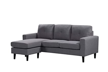 Amazon.com: Grey Sectional Sofa with Chaise,JULYFOX Modern L ...