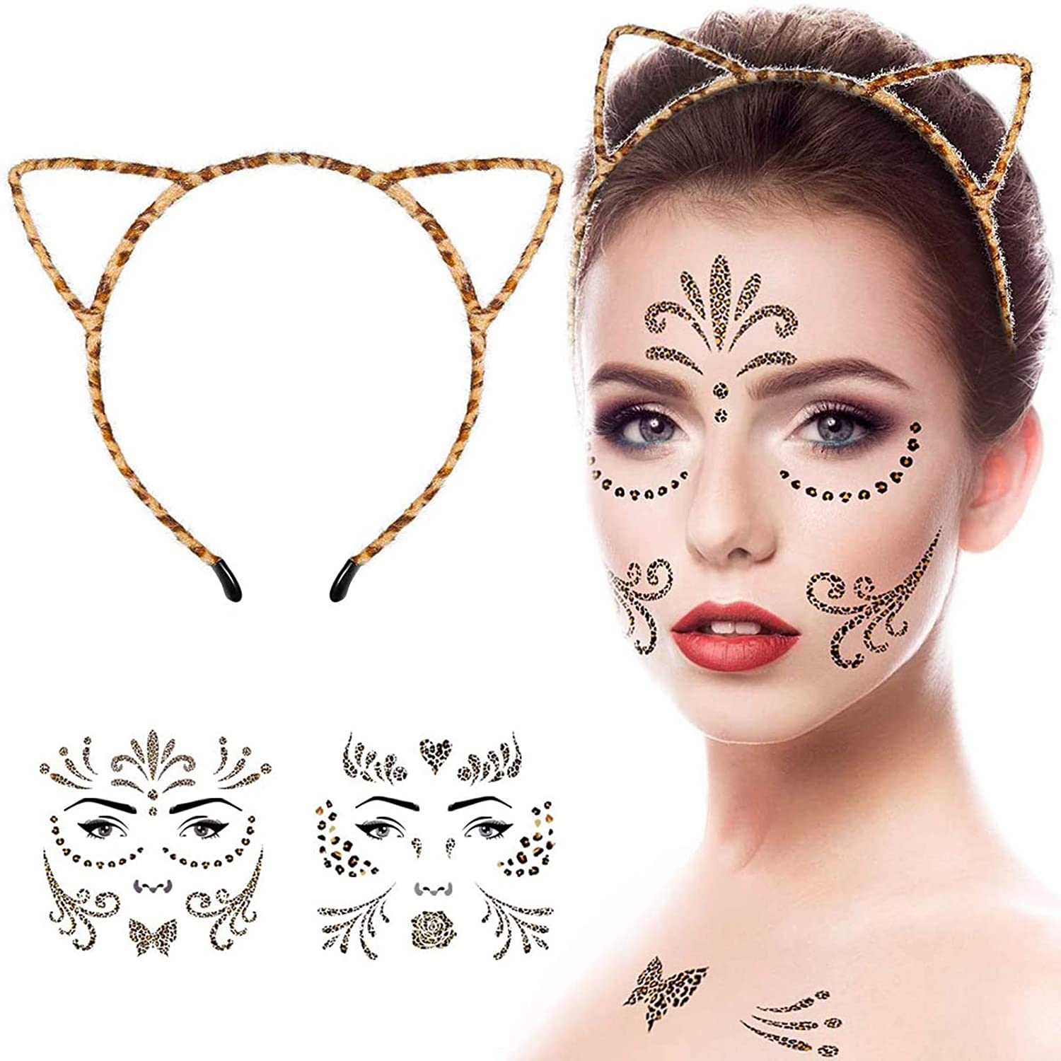 Cat Ear Headband and 2 Temporary Tattoos Stickers, Headbands and Fake Tattoos for Women, Girls or Kids