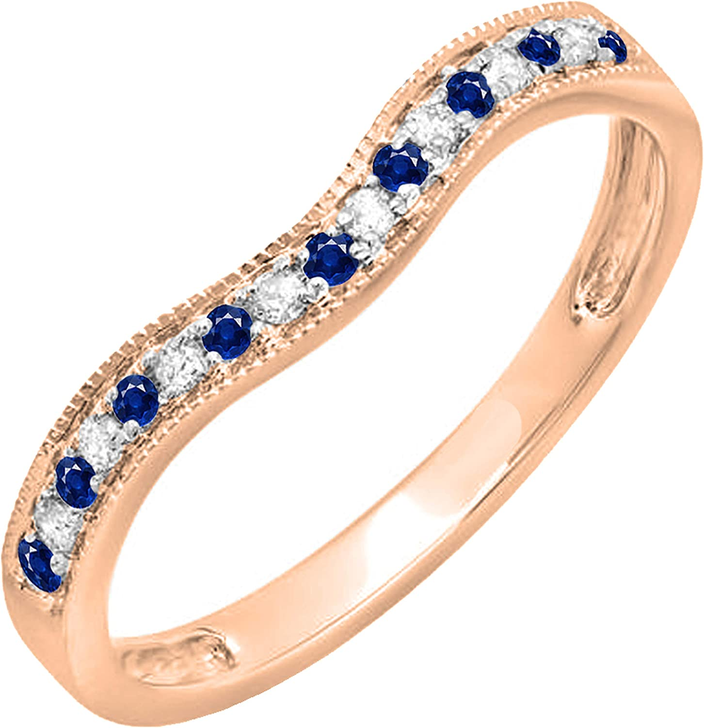 Dazzlingrock Collection Round Blue Sapphire and White Diamond Ladies Contour Guard Wedding Band, Available in 14K/10K/18K Gold