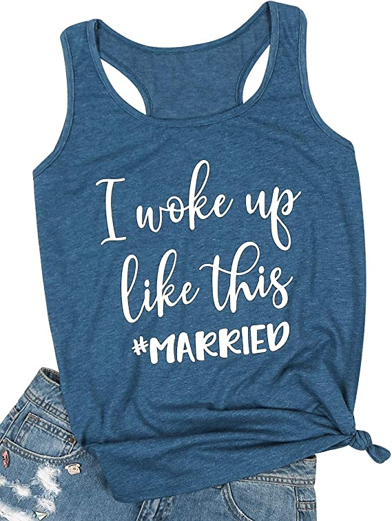 I Woke Up Like This Married Tank Top Women Bride Honeymoon Vacation Tanks Wedding Gift Shirt Vest