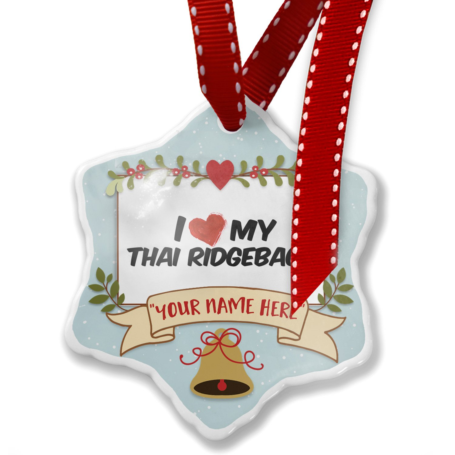 Add Your Own Custom Name, I Love my Thai Ridgeback Dog from Thailand Christmas Ornament NEONBLOND