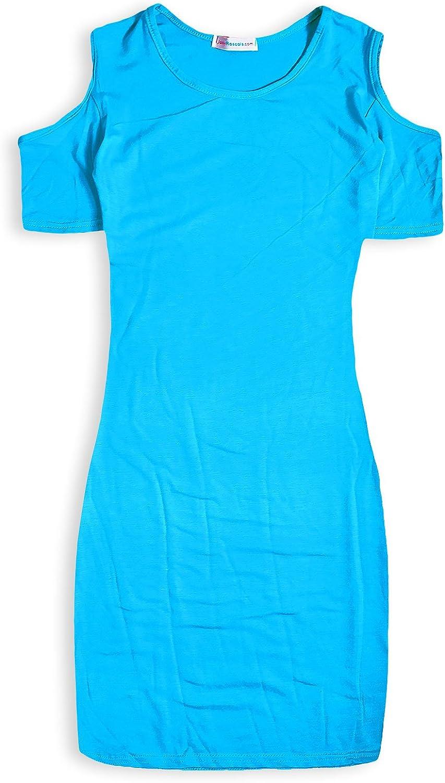 Girls Midi Dress Kids Plain Color Bodycon Summer Fashion Dresses Age 5-13 Year