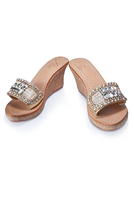 PASHA LEMBATA Gold Crystal Jeweled Leather Sandals B07BFH53FD 8 B(M) US