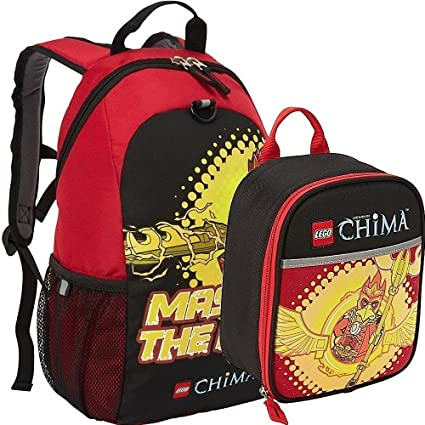 9efce812c1 Amazon.com: Lego Chima Master the Fire Backpack and Lunch Box Bag Set Kit:  Toys & Games
