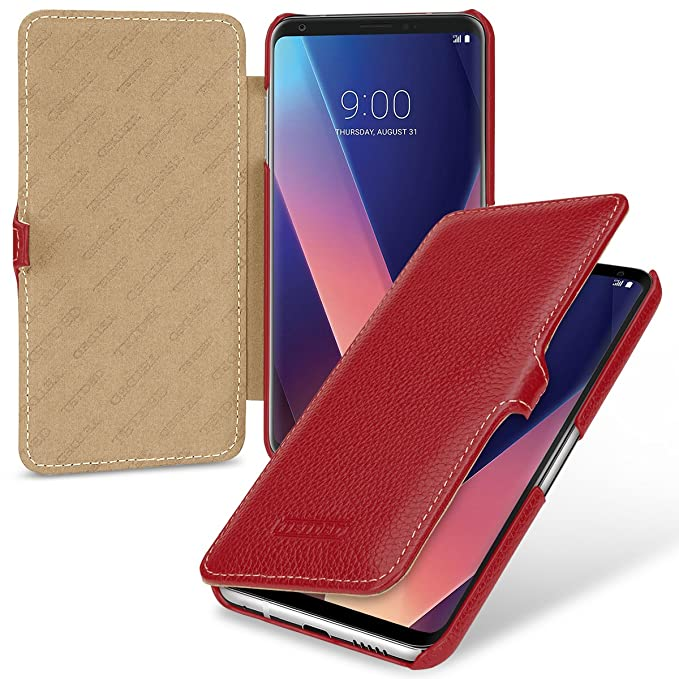 outlet store b4d2d 2ccf9 TETDED Premium Genuine Leather Case for LG V30 / V30+, Book Type DJ3 (Red)