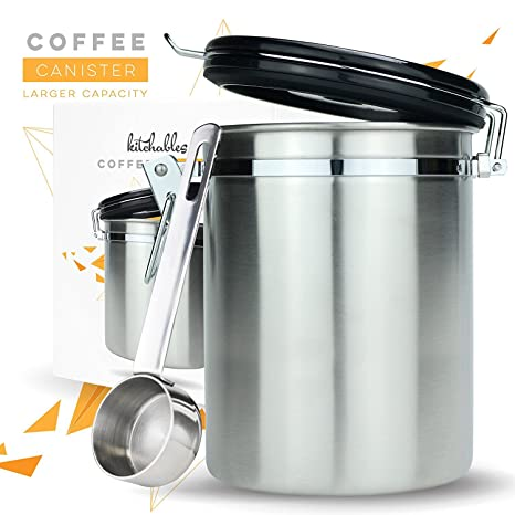 Charmant Coffee Canister (Large) Airtight Seal Set With Scoop   Stainless Steel  Kitchen Storage Container