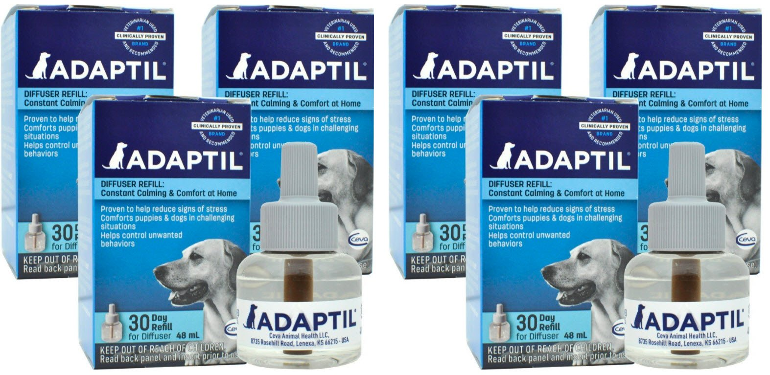 ADAPTIL (D.A.P.) Dog Appeasing Pheromone Refill (144mL) (6-Pack) by DAP