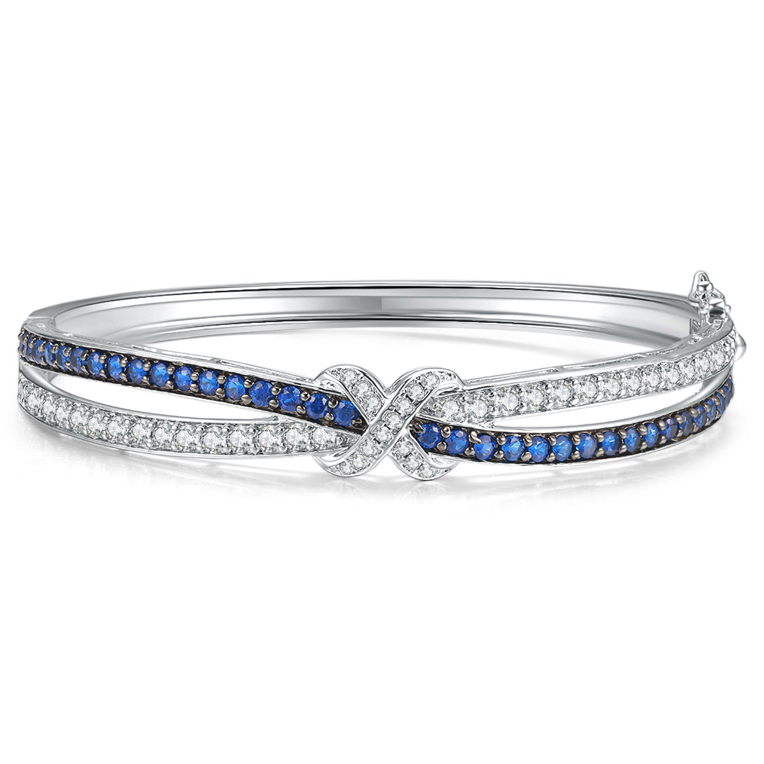 Caperci Love Knot Cubic Zirconia and Created Blue Sapphire Silver Bangle Bracelet for Women, 7.25''