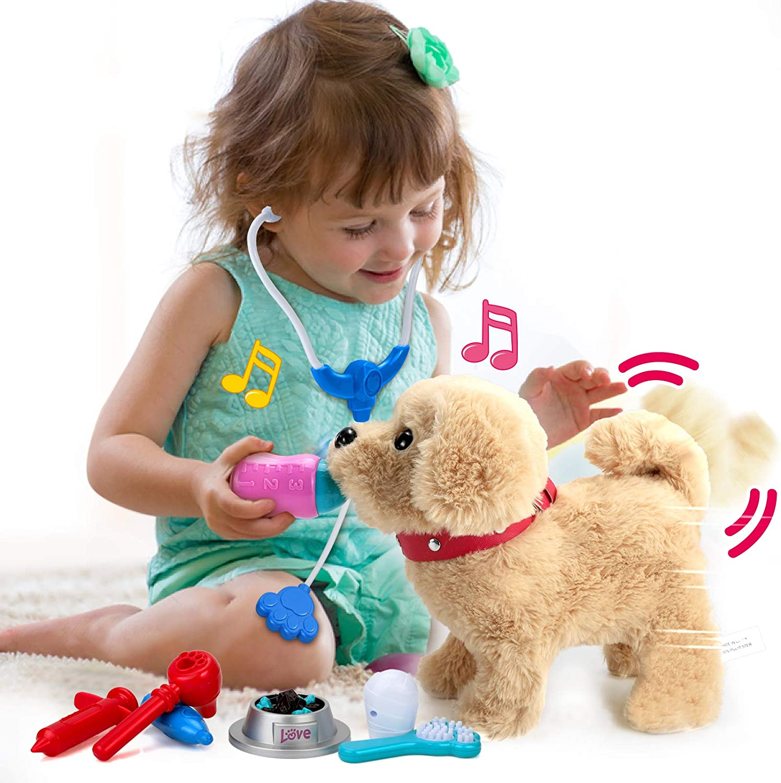 POLARDOR Electronic Interactive Dog Pet Toy, Walking Barking Singing, 9.8 Inches Plush Golden Retriever, Realistic Lifelike Animals, Animated Stuffed Puppy Dog Toy for 3 4 5+ Years Old Kids Girls Boys