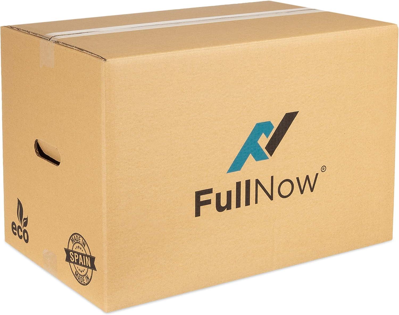 FULLNOW Pack 10 Cajas Cartón Grandes con Asas para Mudanza y Almacenaje Ultraresistentes, 550x350x380mm, Fabricadas en España, Canal Doble