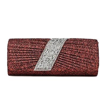 DONGLU Bolso de Noche Bolso de Embrague no Tejido para señoras Bolso de Hebilla magnético Cerrado Bolso de sobre Azul (Color : Red, Tamaño : S): Amazon.es: ...